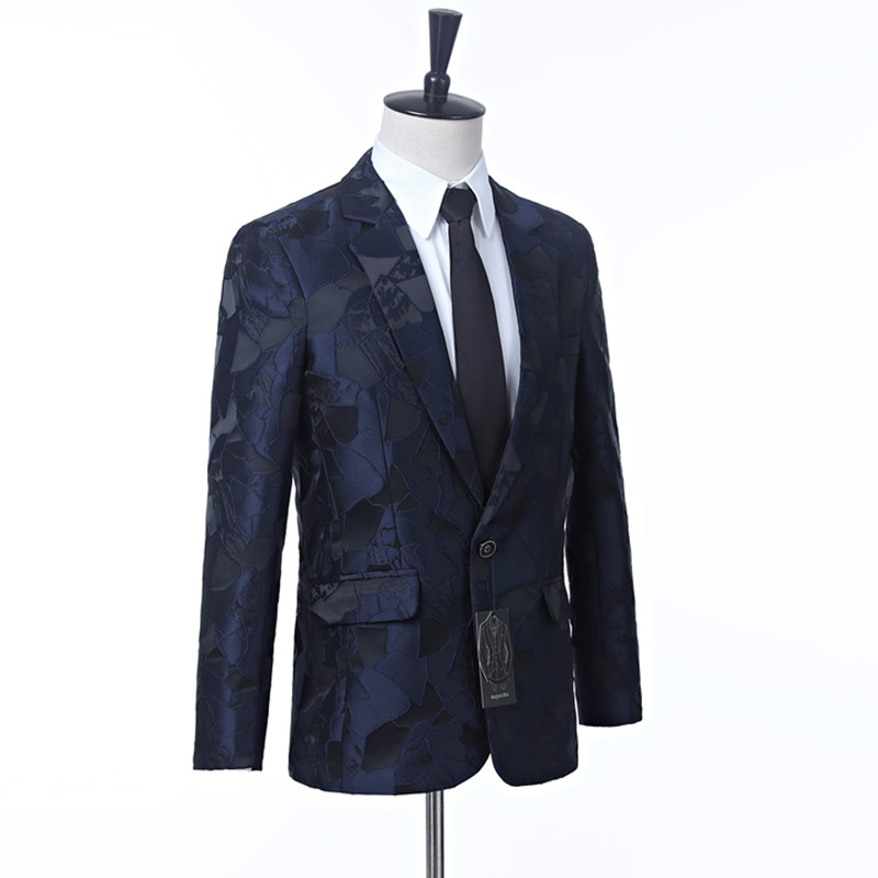 New men's dress suit jacket Navy pattern men's jacket cut lapel One button's grace banquet formal men's jacket suit custom
