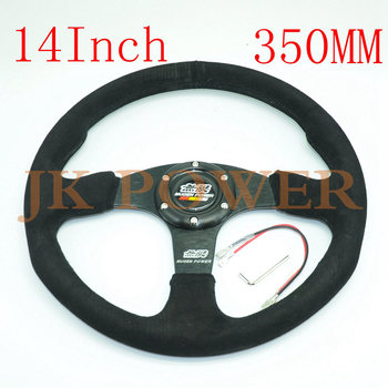 JK جديد نمط الجلد المدبوغ عجلة القيادة ل سيارة سباق 14 بوصة 350 ملليمتر الأزياء شخصية عجلة القيادة موغن