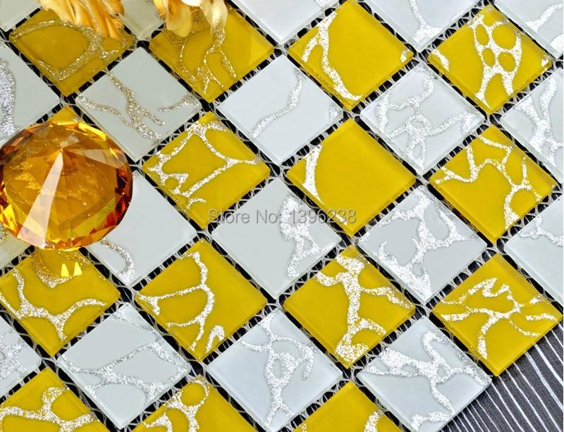 Interlocking Yellow fresh color Crystal Glass Mosaic sticker for Kitchen backsplash Bathroom home wall decor wallpaper,LSMR05 bathroom decor floral toilet lid wall sticker