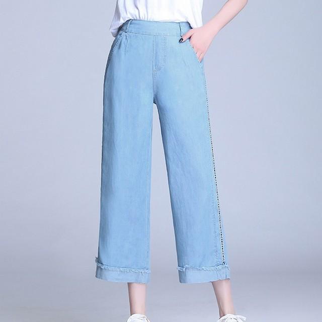 Summer Plus Size Letter Embroidery Wide Leg High Waist Women Jeans Straight Elastic Band Ankle-length Ladies Mom Denim Pants