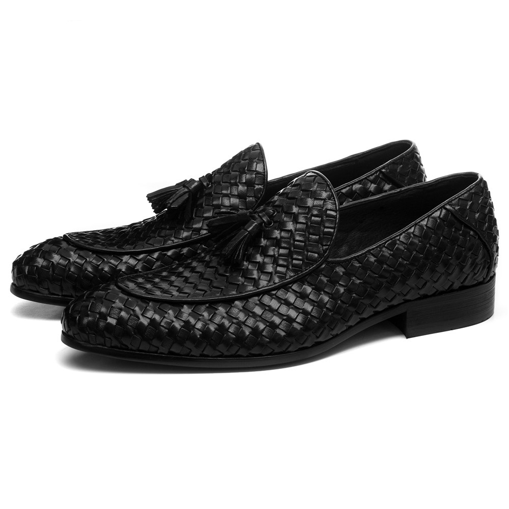 Genuine Leather Woven Design Loafer Men's Shoes