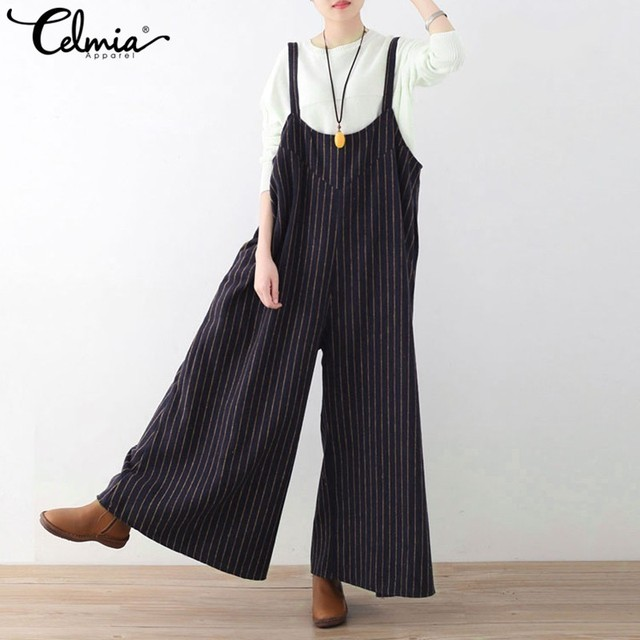 1a08b3ddc48 Celmia 2018 Summer Wide Leg Pants Long Rompers Womens Jumpsuit Striped  Playsuit Loose Suspender Trousers Backless Overalls S-3XL
