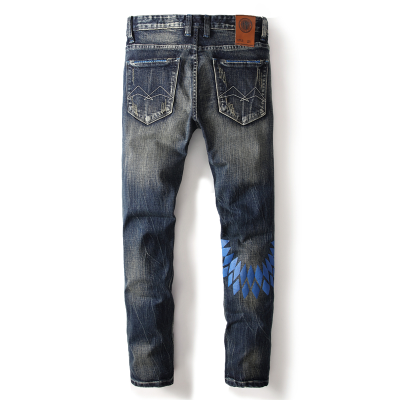 Brand Clothing Casual Style Men`s Blue Wings Print Jeans Distressed Mid Stripe Slim Fit Denim Ripped Dark Jeans Men Pants A632