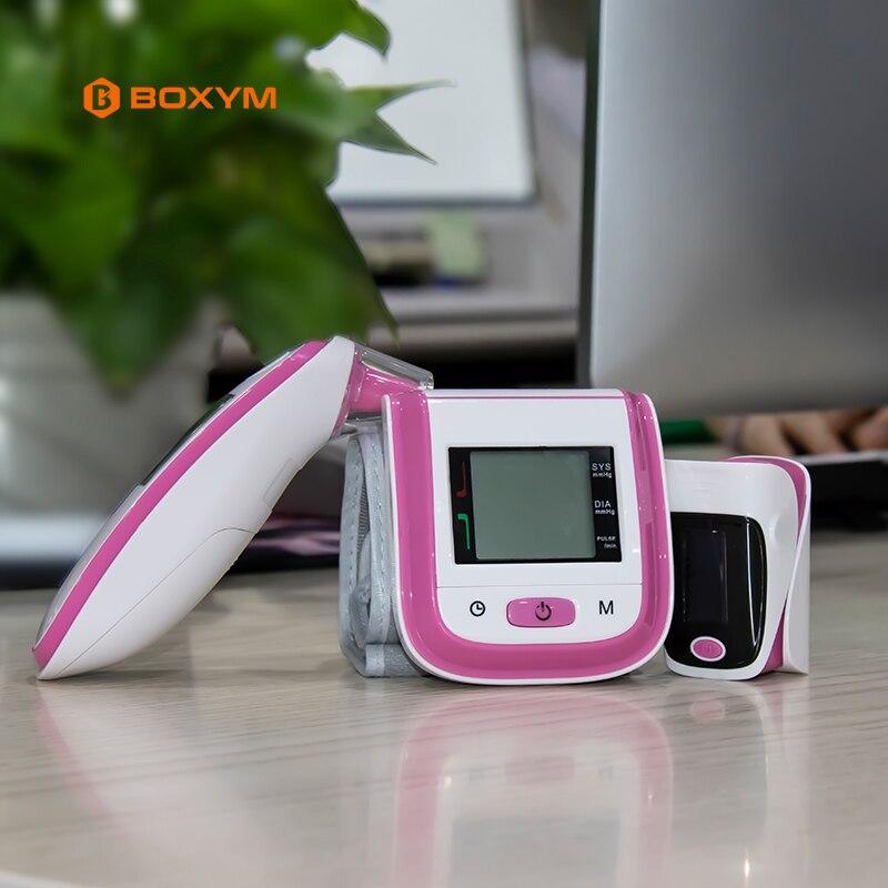 BOXYM Pulsossimetro di ossigeno nel sangue Monitor A Raggi Infrarossi Termometro Sfigmomanometro Misuratore di Pressione Sanguigna del Polso Monitor PR Oximetro De Dedo