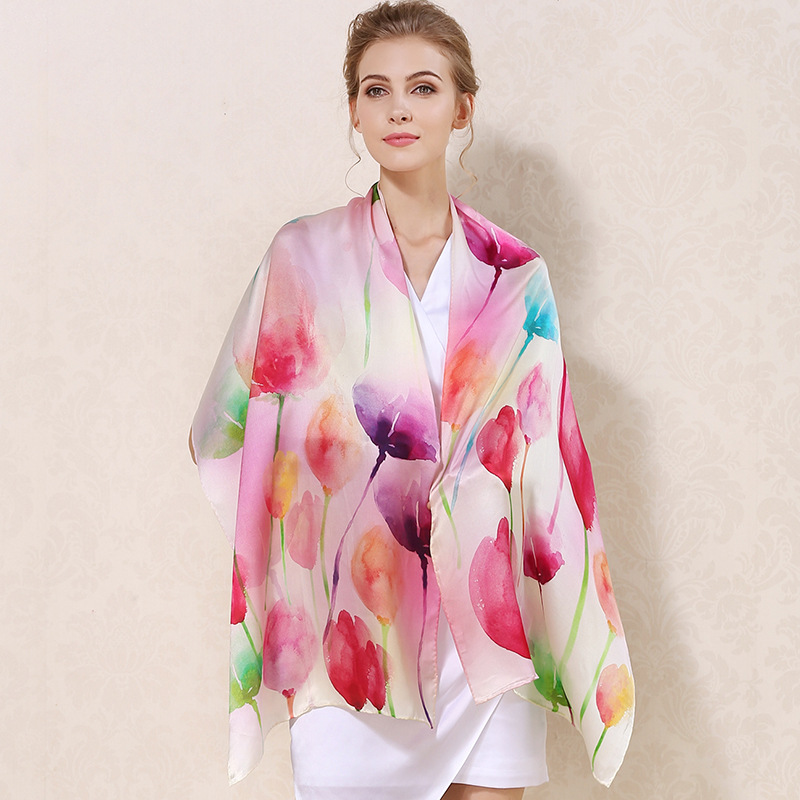 2018 Spring Scarf Women Silk Luxury Brand Long Scarfs For Ladies Shawls and Scarves Multicolor Printed Thin models Shawls Wraps
