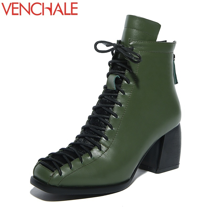 VENCHALE ankle boots high quality genuine leather keep warm lace-up square toe soft absorb sweat breathable women winter shoes
