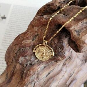Image 4 - LouLeur 925 srebro złoty kolor Roman Disk Chokers naszyjnik Femme medalion moneta naszyjnik dla kobiet biżuterii