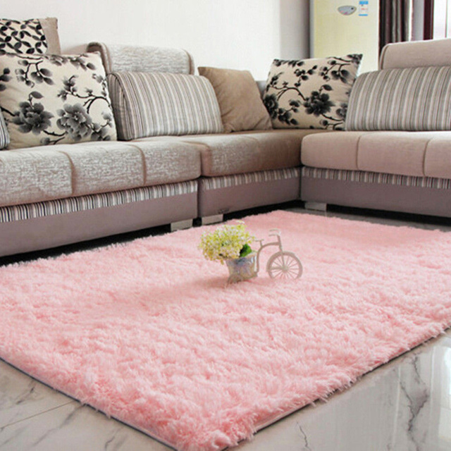 mordern anti skid plush shaggy area rug carpet nonslip soft fluffy Rug on Carpet Dining Room