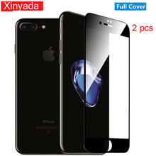 Фотография Xinyada 2pcs Full Cover Tempered Glass For iPhone 8 Plus 7 X iPhone8 6 6s Screen protector Guard Lcd Protection Film