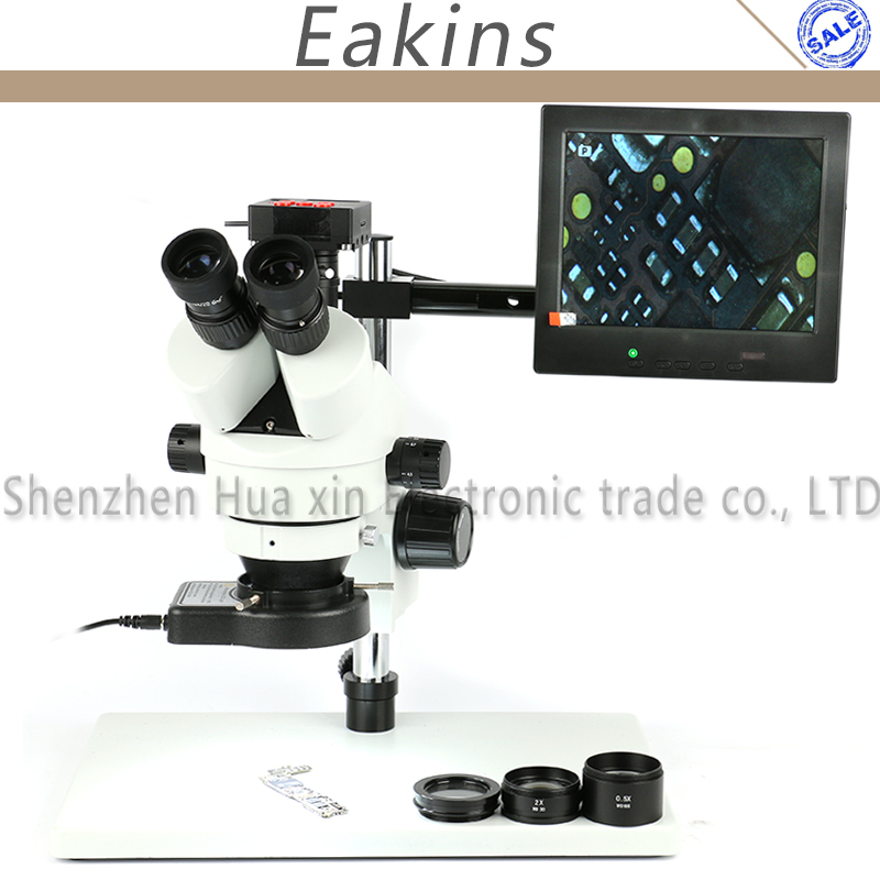 Simul-Focal Trinocular Stereo Microscope Continuous Zoom 3.5X 7X 45X 90X+16MP 1080P HDMI Video Camera + Big metal stand+ 8