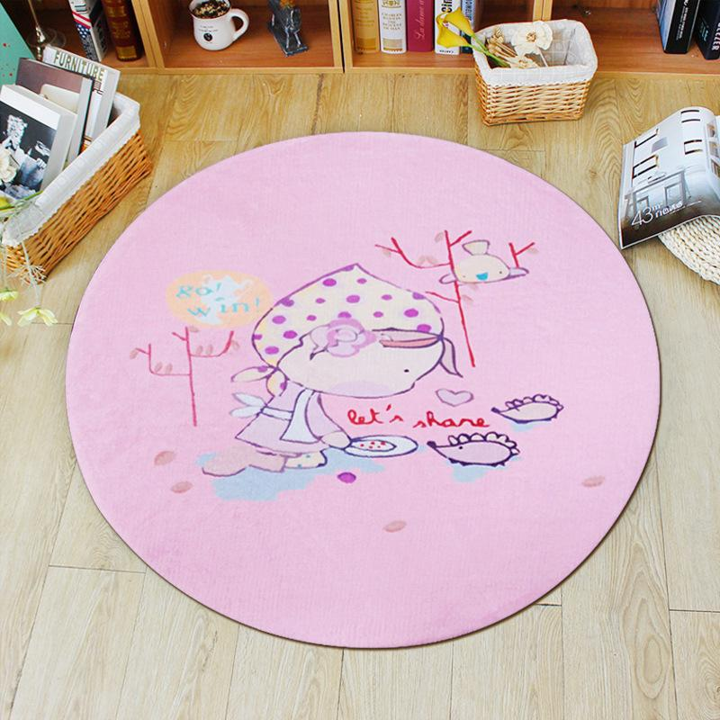 Cute Baby Cartoon Round Carpets for Living Room play Carpet Child bedroom Game Crawl Tapete Kids Room computer Chair Mat Rug