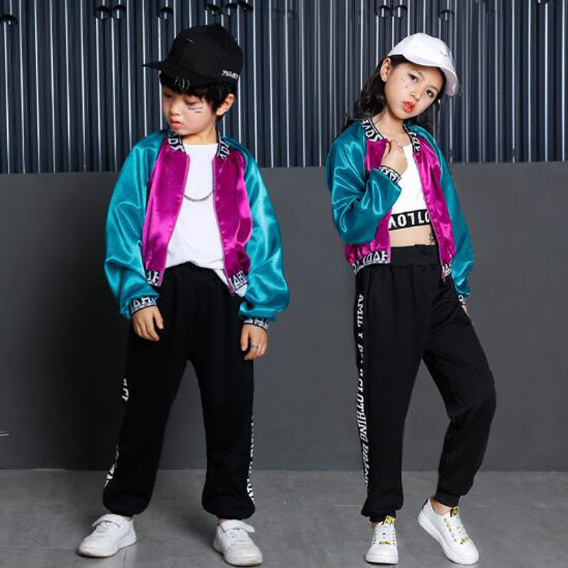 Boys Girls Hip Hop Dance Clothes Children Street Dance Costume Jazz Modern Dance Costumes For Kids Dancing Coats Tops & Trousers