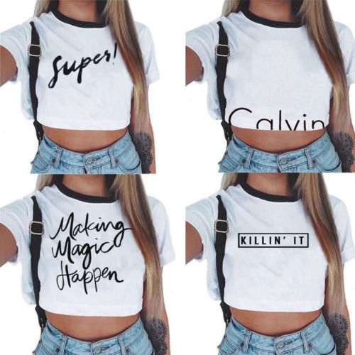 Summer Women Girls Casual Letter Printed Crop Top Ladies Slim Short Sleeves Tops T-Shirt Summer Clothes Outfits