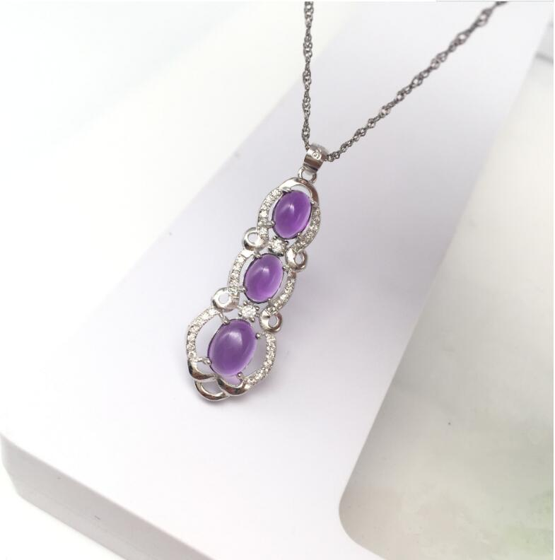 Amethyst pendant Free shipping Necklace pendant Natural amethyst pendants 925 sterling silver Gem Size  6/8MMAmethyst pendant Free shipping Necklace pendant Natural amethyst pendants 925 sterling silver Gem Size  6/8MM