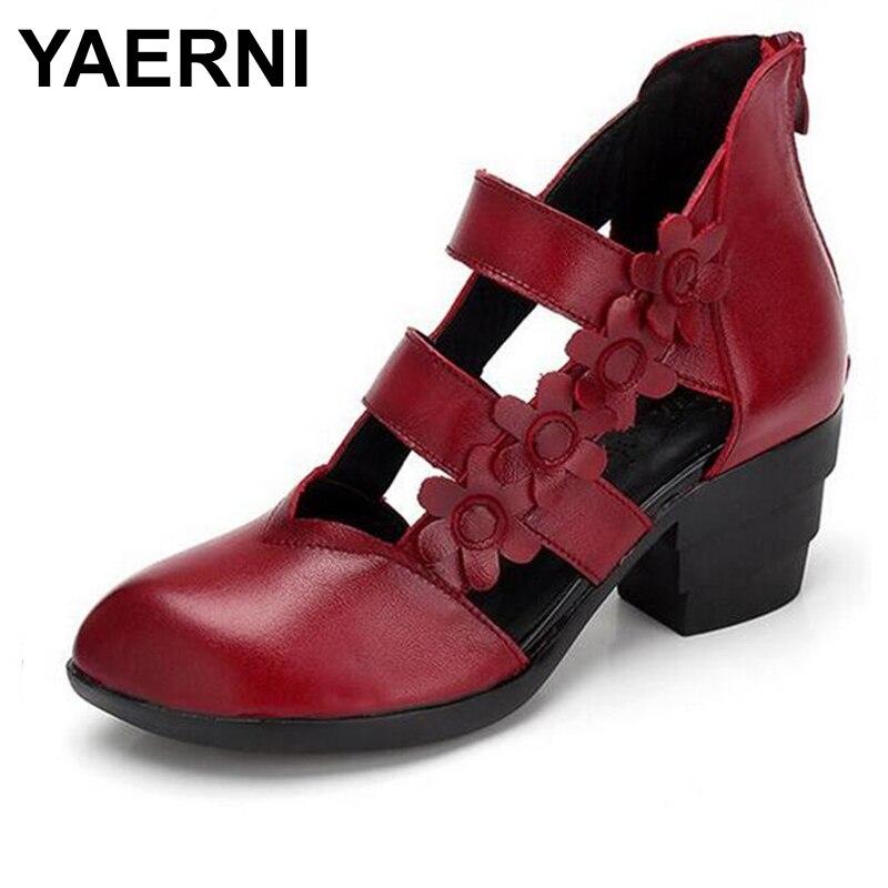 YAERNI Brand women shoes summer sandals high heels 2018 Handmade Flowers fashion sandals genuine leather shoes