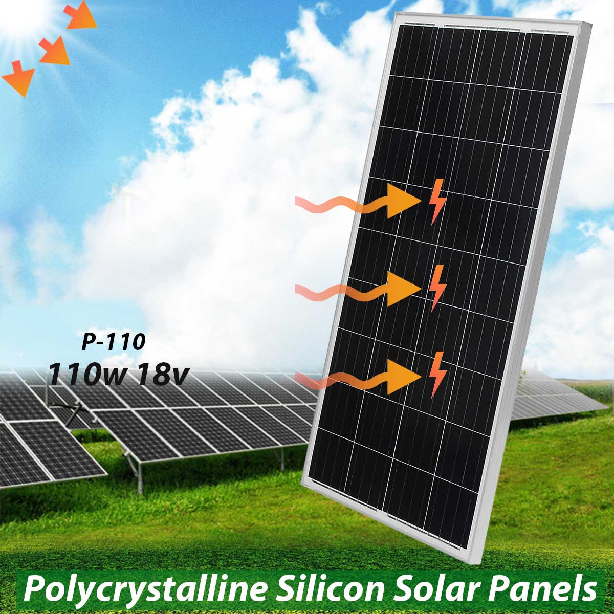 LEORY 110w 18v Solar Panel Polycrystalline Silicon Solar System Supply For Car Battery With Glass Bearing Plate Suitable For t