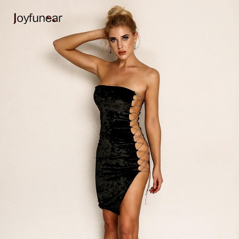 Joyfunear 2019 Sexy Mini Dress Women Skinny Side Hollow Out Club Dress Party Left Chain Velvet Dress Vestido Robe Femme Black