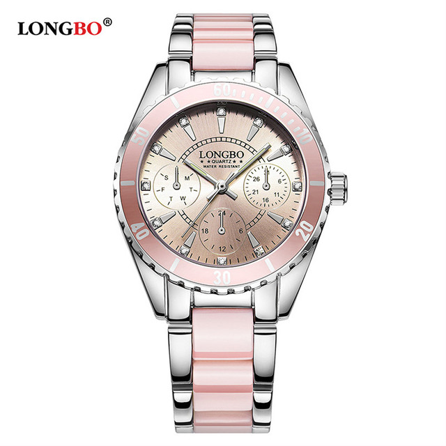 fd6eb444e31 Marca LONGBO Moda relógios Mulheres Relógio de Luxo de Cerâmica Liga  Pulseira Relógio de Pulso de