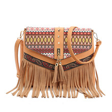 2017 neue Frauen Pu-leder Quasten Handtaschen Vintage Nationalen Stil Umhängetasche Mode Kreuz Leichensack Bolsas.