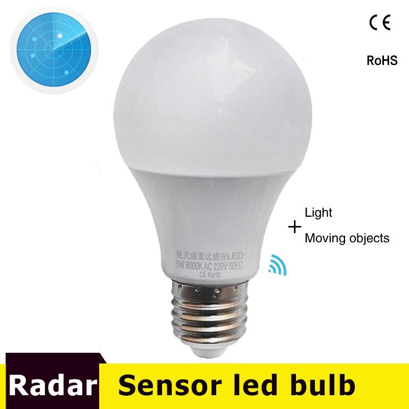 Led Radar Motion Sensor Light Lamp Led Bulb E27 AC85-265V 9W 7w 5w Smart Bombillas Infrared Body Lamp With Motion Sensor Light