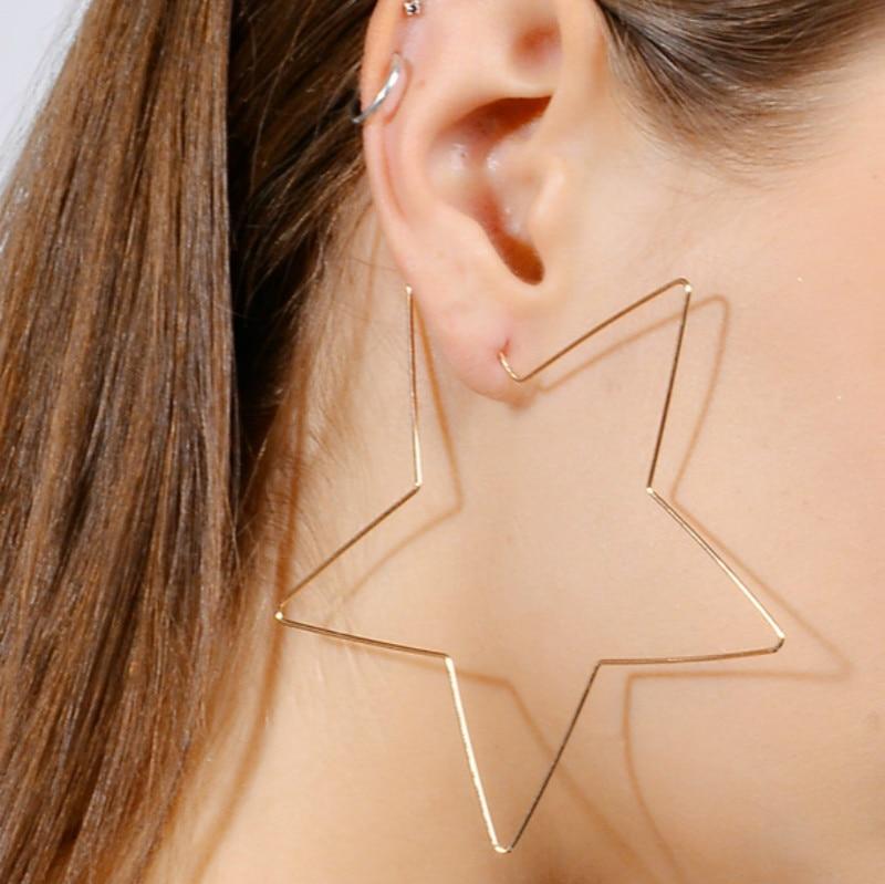 Ehrgeizig Mode Gold Silber Big Star Hoop Ohrringe Erklärung Schmuck Große Ohrringe Für Frauen Hochzeit Geschenk Brincos 2017