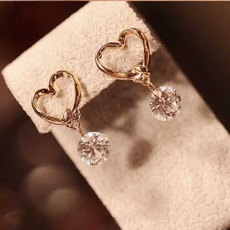 The 2017 new brand fashion jewelry Drop earring love CZ crystal pendants dangling earrings for women Boucle D'oreille Femme