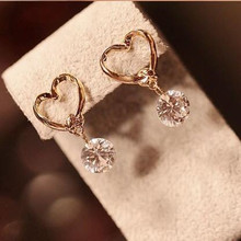 The 2017 new brand fashion jewelry Drop earring love CZ crystal pendants dangling earrings for women Boucle D'oreille Femme(China)