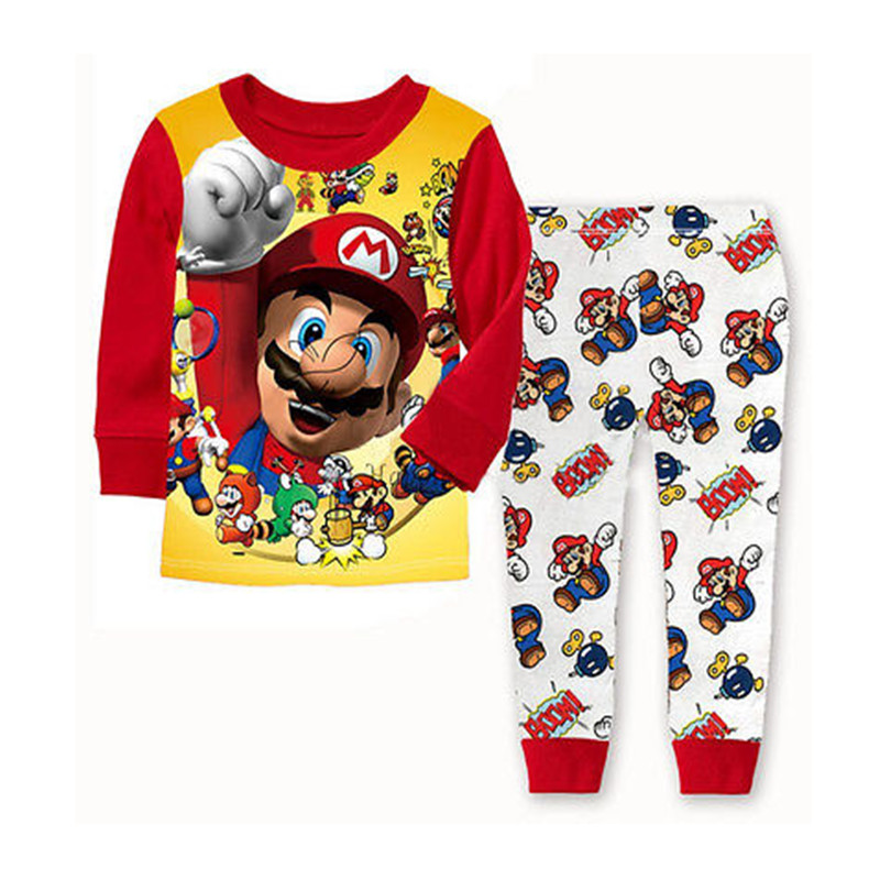 Super Mario Kids Pyjamas 2 pcs Set Christmas Birthday Gift Baby Boys Toddler Sleepwear Nightwear Pajamas Sets 1-7 Yrs Old Retail