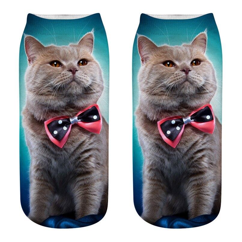 Unique design Cat 3D Printing Socks Cute Women Work Business Cotton Funny Sock Medium Sports Socks Comfortable #2s29 (5)