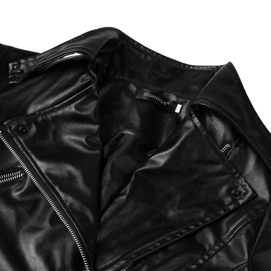 Woweile#4001 Fashion Vintage Women Biker Motorcycle Leather Zipper Jacket Overcoat Outwear