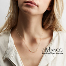 eManco women statement stainless steel necklace for women simple Thin chain necklace choker necklace luxury designer jewelry(China)