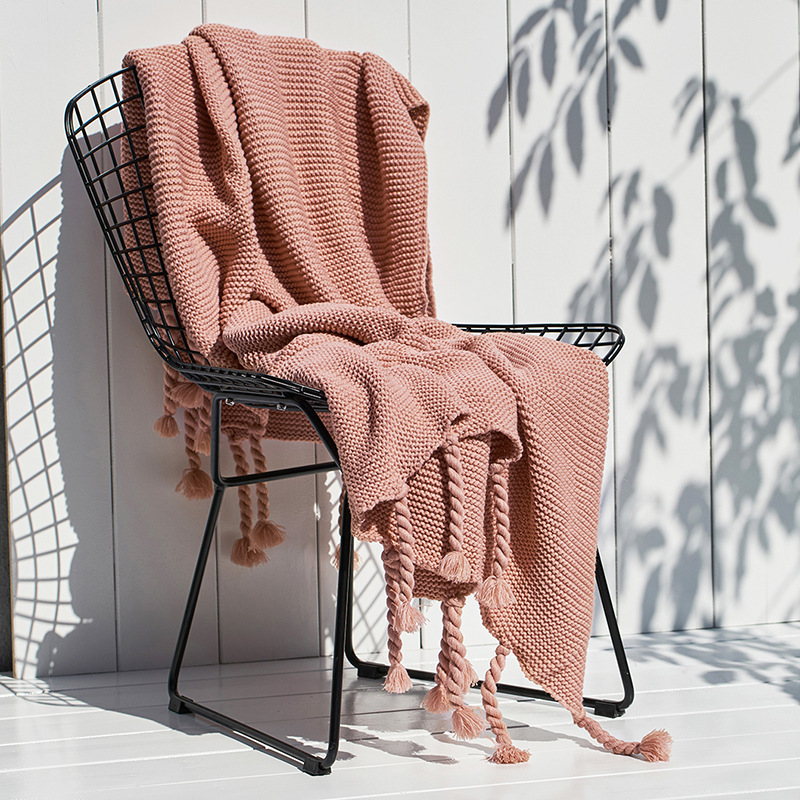 Nordic Sofa knitted blanket Office Leisure Blanket Single Lunch Break Blanket Air Conditioning cobertor Fringes Blankets