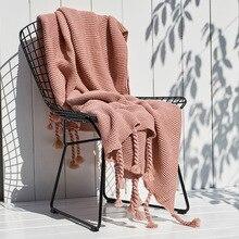 цены Nordic Sofa knitted blanket Office Leisure Blanket Single Lunch Break Blanket Air Conditioning cobertor Fringes Blankets Shawl