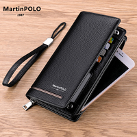 MartinPOLO Men Genuine Leather Wallets Long Card Holder Male Purse Zipper Large Capacity Luxury Clutch Business Wallet MP3001