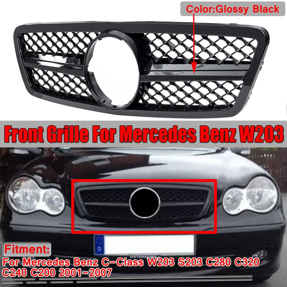 Chrome/Black Car Auto Front Grille Grill For Mercedes For Benz C-Class <font><b>W203</b></font> S203 C280 C320 C240 <font><b>C200</b></font> 2001-2007 For AMG Style image