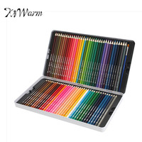 KiWarm Professional 72 Colored Pencils Colorful Pen Soft Core Lead Set With Iron Case And Brush