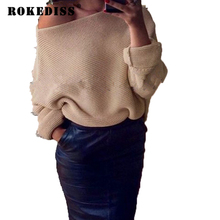Winter Pullover Bat Sleeve Loose Off Shoulder Sweater Women Pull Femme Sexy Sweaters Jumper Tops Lace Up Sweater Pullovers TG045