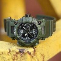 SBAO Men's Flintstone Outdoor Brand Compass Top Brand Luxury Style Digital Military Watches Waterproof Men's Watch