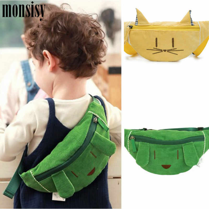 daeb92c74b075 Monsisy 2019 Kid Waist Bag Girl Boy Fanny Bag Fashion Cotton Dog/Cat Chest  Bag Children Wallet Animal Baby Wasit Pack Belt Bag