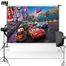 DAWNKNOW Cartoon Vinyl Photography Background For Kids Car Polyester Backdrops Children Photo Studio Props G063