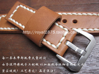 2018 new luxury high quality 24mm for pam111 Mens Watch Band yellow Brown Genuine Leather Strap excellent Stainless Steel Buckle