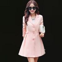 Super Dość Elegancki Trench Coat Kobiety Panie Peplum Wiatrówka Płaszcz Różowy Szary Zielony Manteau Femme Silm Długie Żakiety Moda