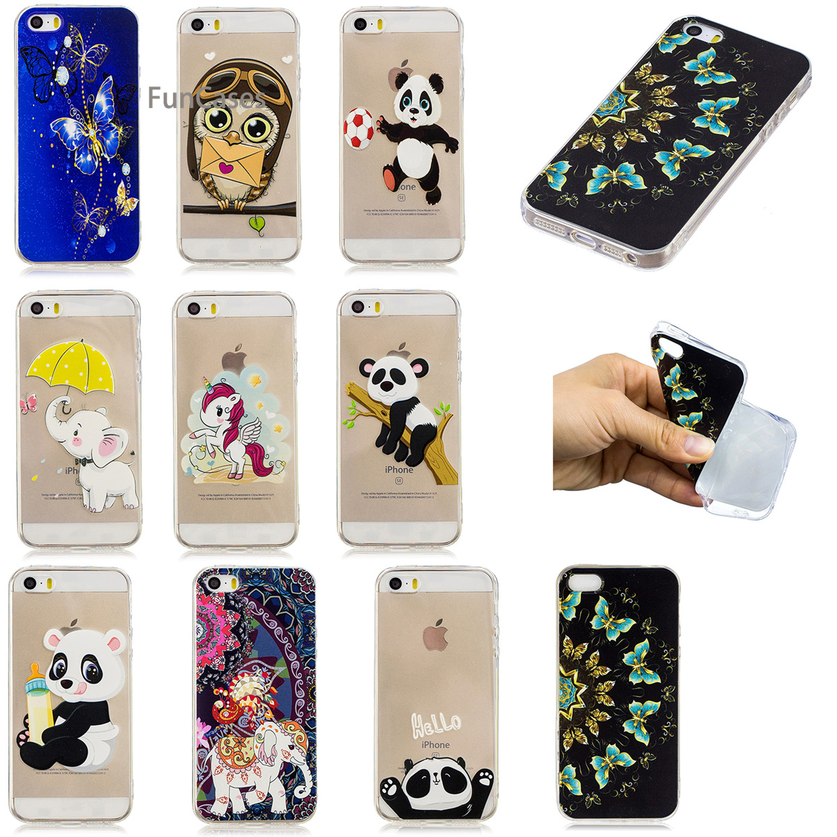 Lovely Panda Phone Case sFor Etui iPhone 5 Soft Silicone Back Cover Capa Abstract Back Cover For iPhone 5S SE 5C Moblie Telefoan