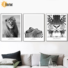 цена на Black White Photo Lion Zebra Tiger Wall Art Canvas Painting Nordic Posters And Print Animal Wall Pictures For Living Room Decor