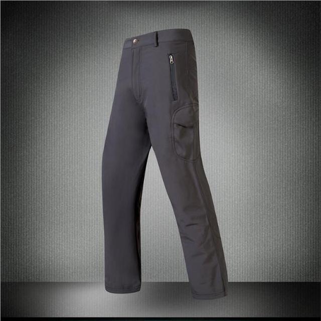 De los hombres A Prueba de Viento de Cáscara Suave Impermeable Táctica Pantalones Largos Pantalones con Forro Polar Color Sólido Espesar Pantalones de Carga Tamaño M