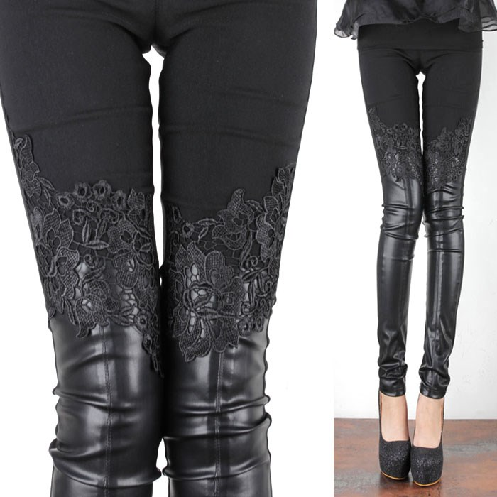 Women Lace Skinny Leather Pants Autumn Winter Leggings Patchwork Fashion Slim Trousers