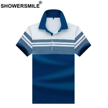SHOWERSMILE Brand Polo Shirt Men 100% Cotton Blue Striped Tops Male Luxury High Quality Business Summer T Plus Size 3xl