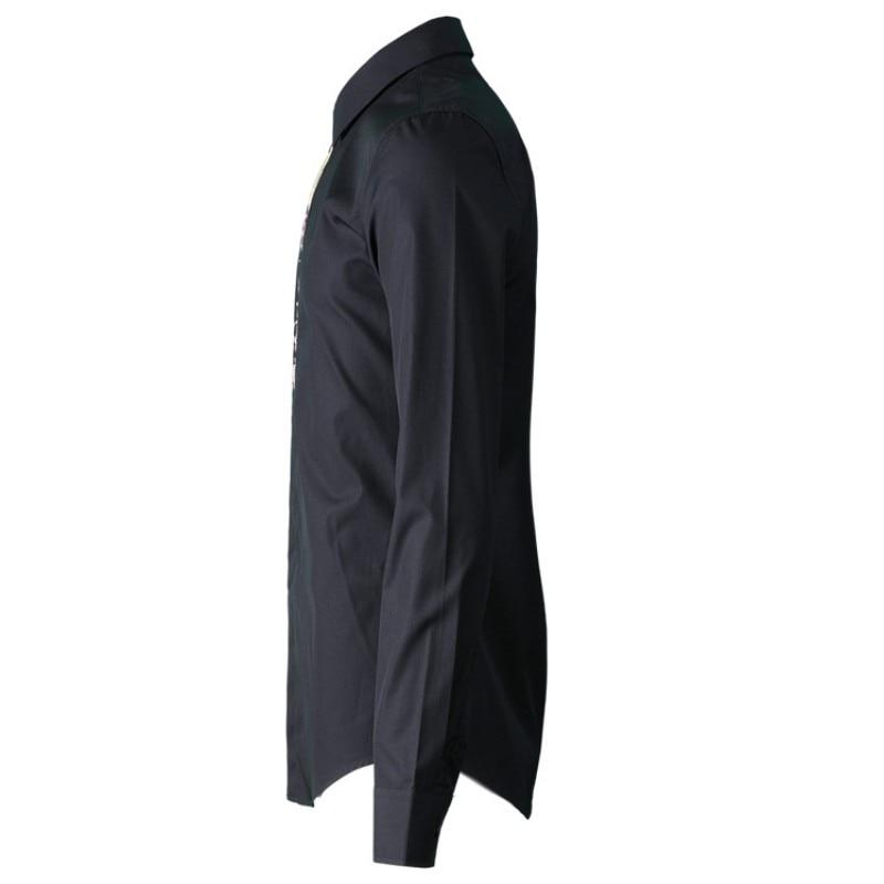 Nouveau hommes vêtements gothique brodé hommes chemise Simple mode fleur classique homme chemise blanc noir décontracté mâle haut 38 42 - 5
