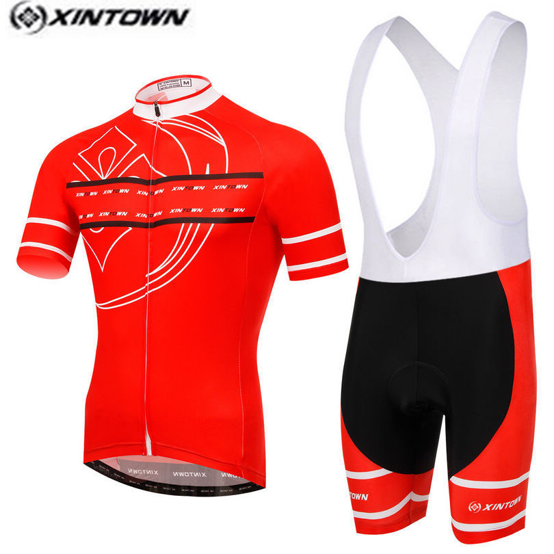XINTOWN Pro Bike Jersey Bib Shorts Sets Red Summer Male Ropa Ciclismo Cycling Top Bottom Men Riding mtb Bicycle Clothing Suits tasdan women s cycling jersey sets bike wear bicycle cycling clothings jerseys shorts mtb shorts sports clothing sets suits