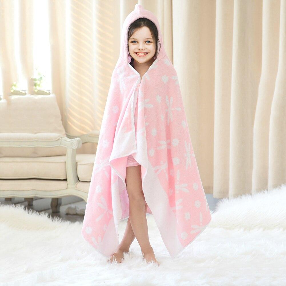 140 X 70cm Cotton Bath Towel Children's Bath Towel Cloak Hooded Hat Bathrobe Beach Towel Baby Kid Receiving Blanket Swaddle Wrap creative sleeveless dress bath beach towel deep pink